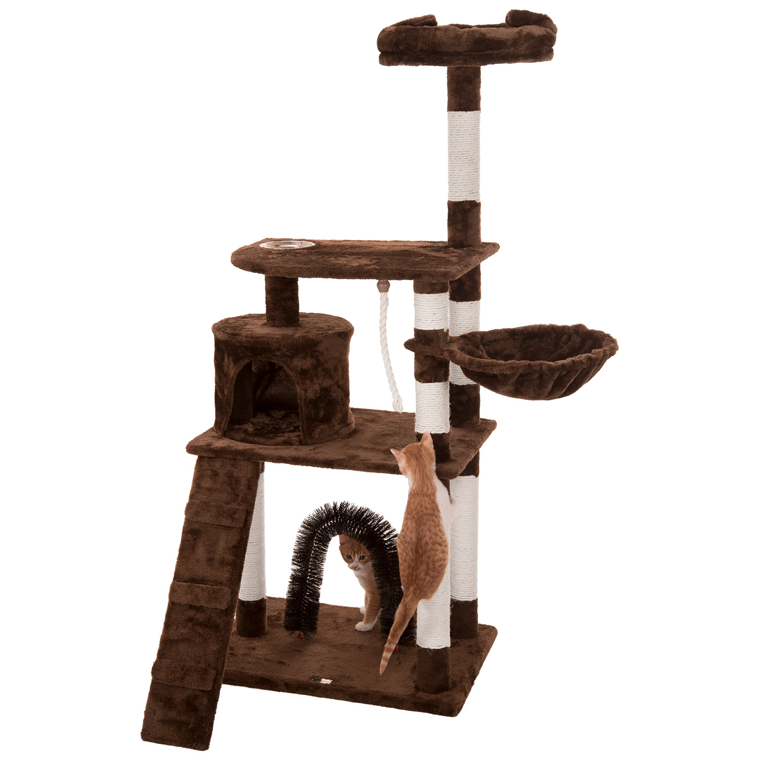 ollieroo cat tree furniture tower climbling activity tree scratcher play house condo hammock with scratching post iconic pet three level cat tree condo with hammock beige   aaa      rh   aaanational corporateperks