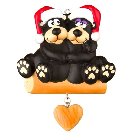 Black Bear Family 2 Couple  Personalized Christmas Ornament DO-IT-YOURSELF