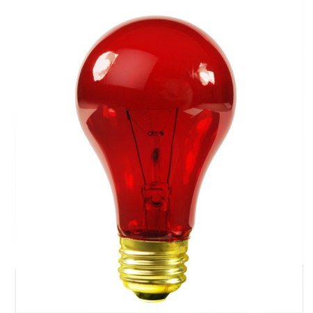Satco S6080 - 25 Watt Light Bulb - Transparent Red - A19 - 130 Volt - 1000 Life Hours - Party Bulb
