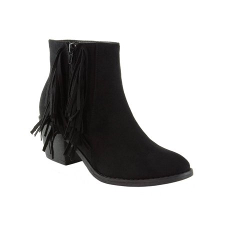 Suede Goth Boots Shoes - Alpine Swiss Arosa Women's Ankle Boots Fringe Shoes Block High Heel Micro Suede