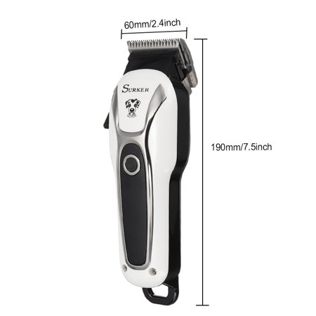 Pet Clipper Rechargeable Pet Cat Dog Electric Trimmer Hair Cutter Shaver Grooming Tool Kit + Nail Cutter + Nail File , US Plug - image 4 of 9
