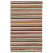 2' x 3' Calming Horizons Striped Brown, Blue and Wisteria Purple Hand Woven Wool Area Throw Rug