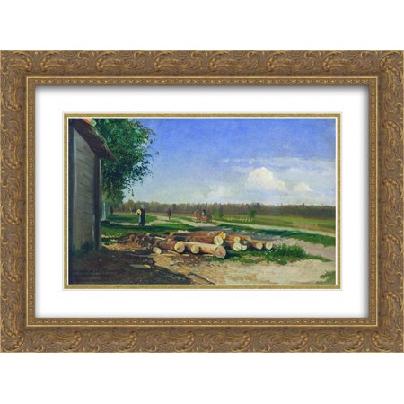 Fyodor Vasilyev 2X Matted 24X18 Gold Ornate Framed Art Print Logs By The Road