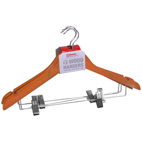 Sunbeam 3-Pack Wood Hanger with Clips, Oak