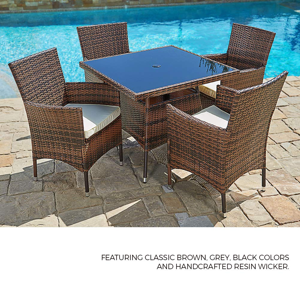 Suncrown Outdoor Furniture Patio 5 Piece Round Dining Table