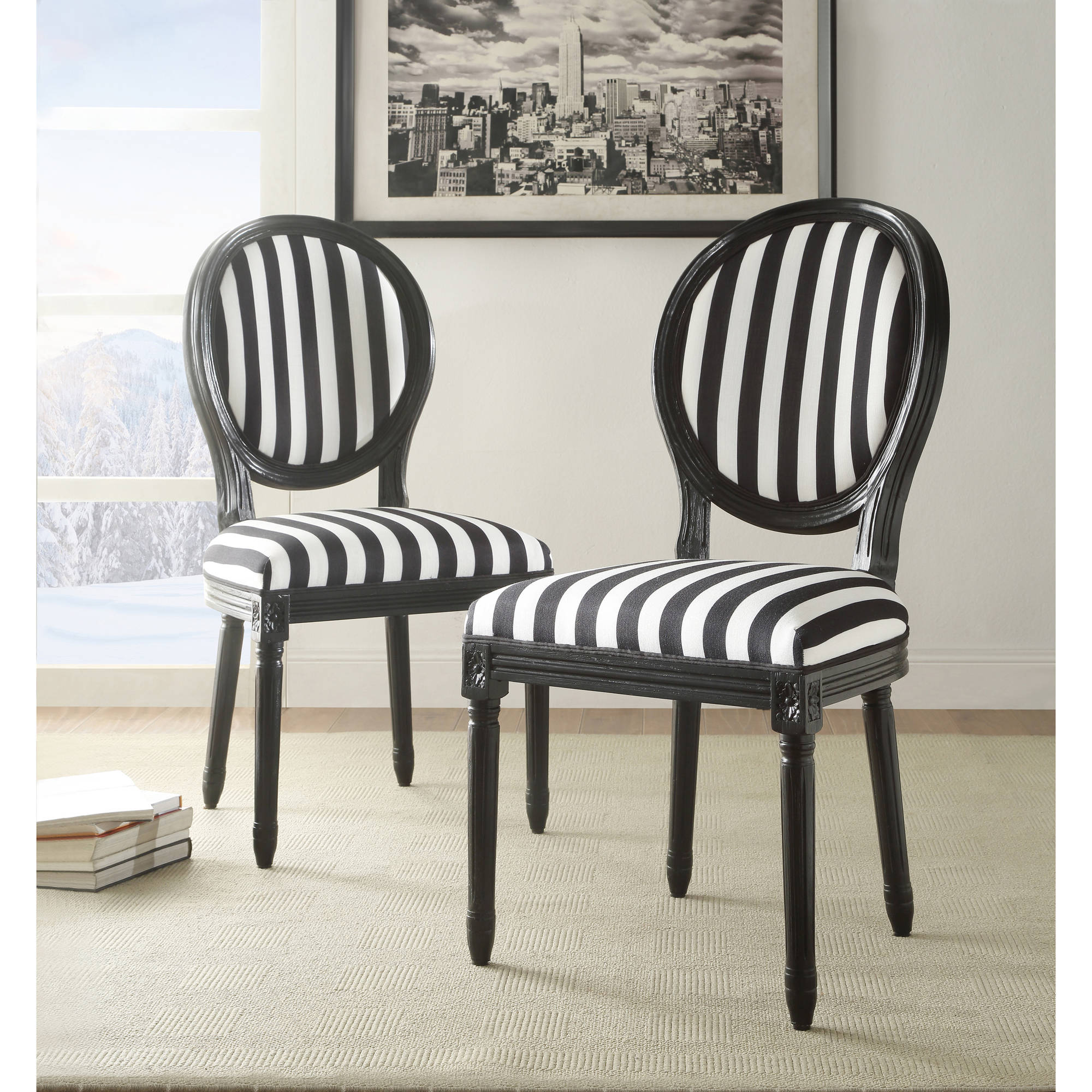 Linon Black and White Stripe Chair, 19 inch Seat Height, Fully Assembled
