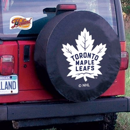 Toronto Tire Cover with Maple Leafs Logo on Black Vinyl Size: A - 34 x 8