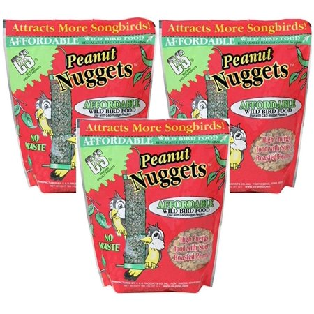 Peanut Wild Bird Nuggets [Set of 3], High energy wild bird food with suet and peanuts By C S
