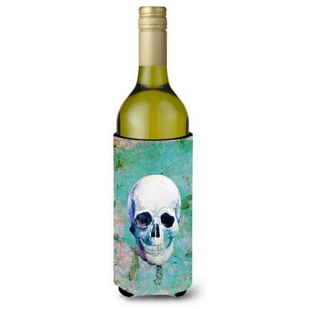 Day of the Dead Teal Skull Wine Bottle Beverge Insulator Hugger - image 1 de 1