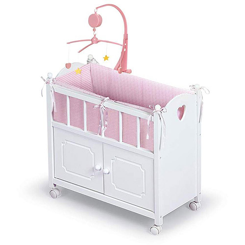 """Badger Basket Doll Crib with Cabinet, Bedding and Musical to Mobile - Fits Most 18"""" Dolls & My Life As"""