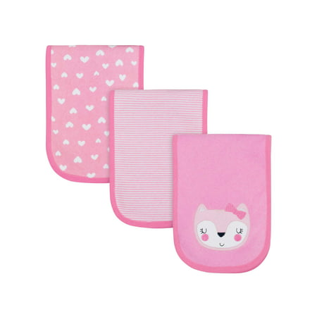 Carters Burp Cloth (Gerber Assorted Terry Burp Cloth Set, 3pk (Baby Girls) )
