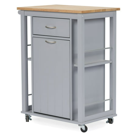 Baxton Studio Yonkers Contemporary Light Gray Kitchen Cart with Wood Top