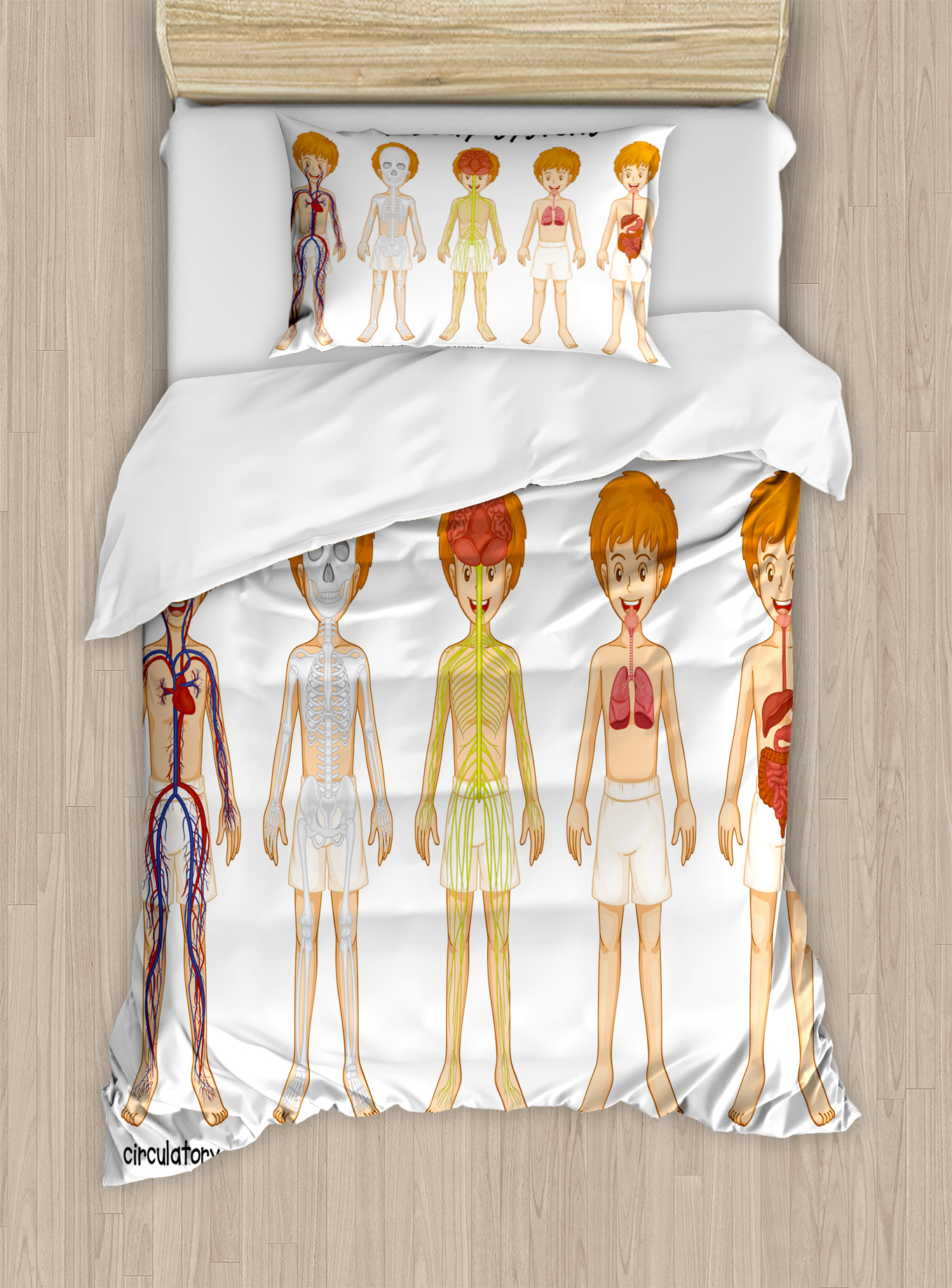 Educational Twin Size Duvet Cover Set, Different Systems in Human Nervous Skeletal... by Kozmos