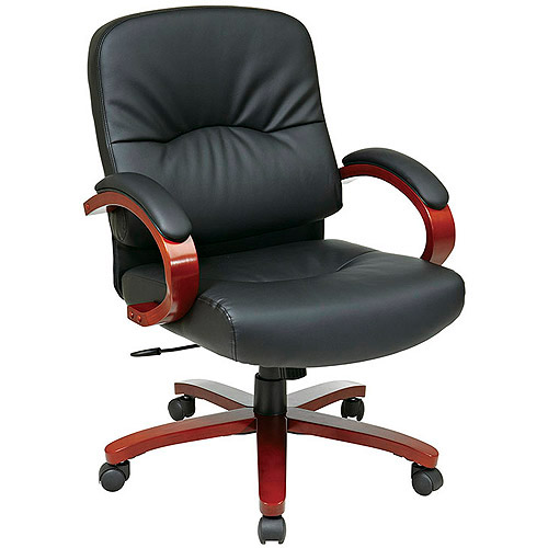 Office Star Leather Mid-Back Chair with Cherry Wood Finish, Black