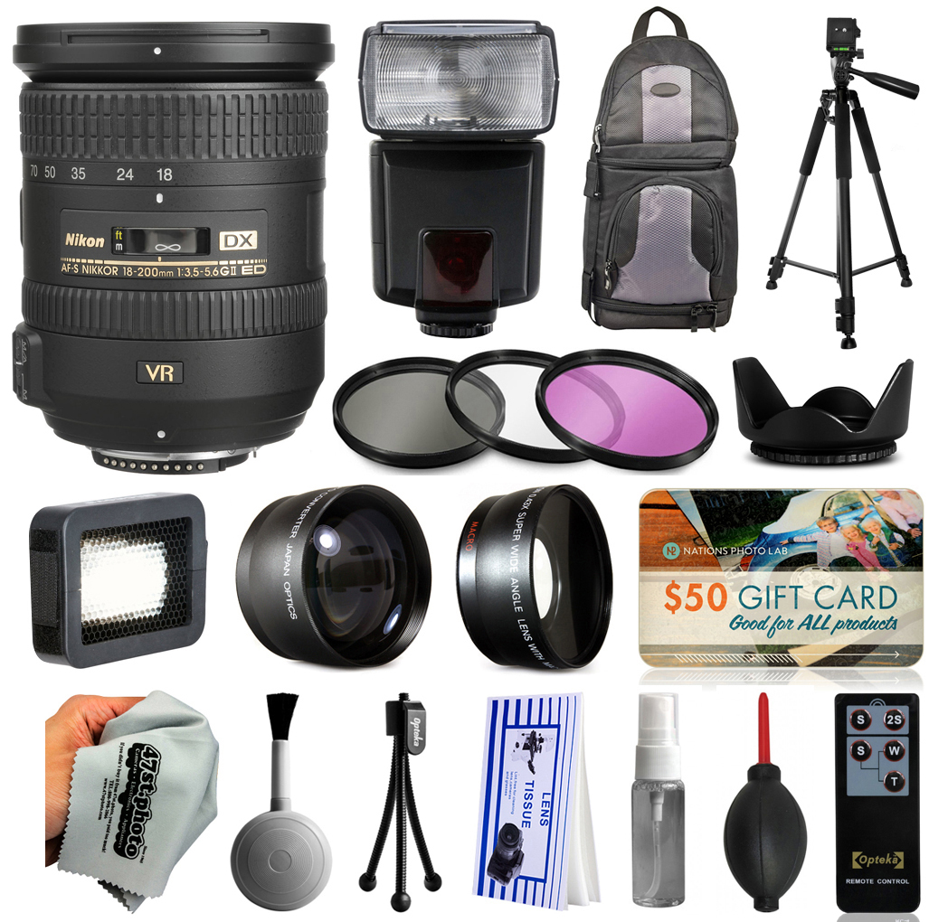 Must Have Accessories for Nikon DF D7200 D7100 D7000 D5500 D5300 D5200 D5100 D5000 D3300 D3200 D300S includes AF-S 18-200mm VR II Lens   Flash   Backpack   Filters   Adapters   Tripod   More