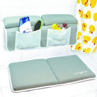 Eutuxia Premium Bath Kneeler & Elbow Rest Pad Set - Non-Slip Knee Pad, Suction Cup Grips, Mesh Organizers, Thick Protective - Arm & Knee Supportive Foam - Washable - Great to Use for Babies and Pets