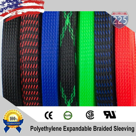 ALL SIZES & COLORS 5 FT - 100 FT. Expandable Cable Sleeving Braided Tubing LOT (5 Inch Exhaust Tubing)