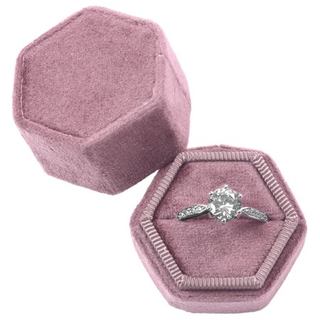 DIY Wedding Koyal Wholesale Velvet Ring Box, Dusty Rose, Hexagon Vintage Wedding Ceremony Ring Box with Detachable Lid, 2 Piece Engagement Ring Box Holder, Modern Proposal Idea, Slim Ring Box - Ideas For A Wedding