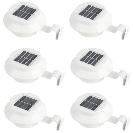 Solar Powered LED Gutter Light, KingSo 3 LED Solar Powered Lights Outdoo Safety Lamp for Fence Roof Driveway Garden Yard Energy Efficient, 6 Pack, Easy Install, White ()
