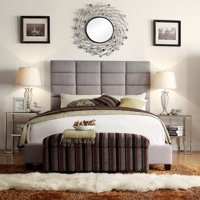 Weston Home Baylor Gray Linen Upholstered Column Bed - Multiple sizes