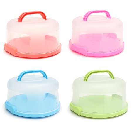 Portable Round Cake Stand with Dome Cake Holder Container Carrier Handle & Clip Lock BPA - Cake Stand With Lid