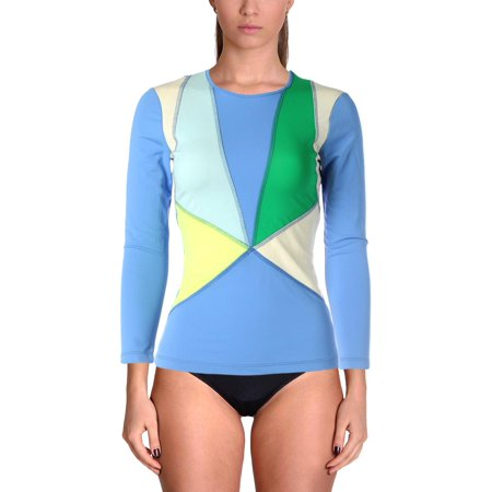 Cynthia Rowley Womens Colorblock Long Sleeves Rashguard Blue S