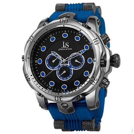 Men's Multifunction Swiss Quartz Rubber Blue Strap Watch