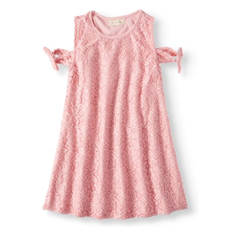 Tied Cold Shoulder Lace Swing Dress (Little Girls & Big Girls)](Cute Dresses For Girls Cheap)