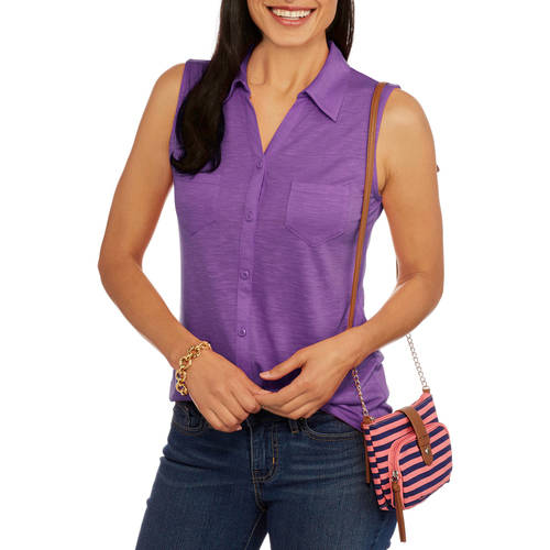 Faded Glory Women's Sleeveless Button Front Knit Top