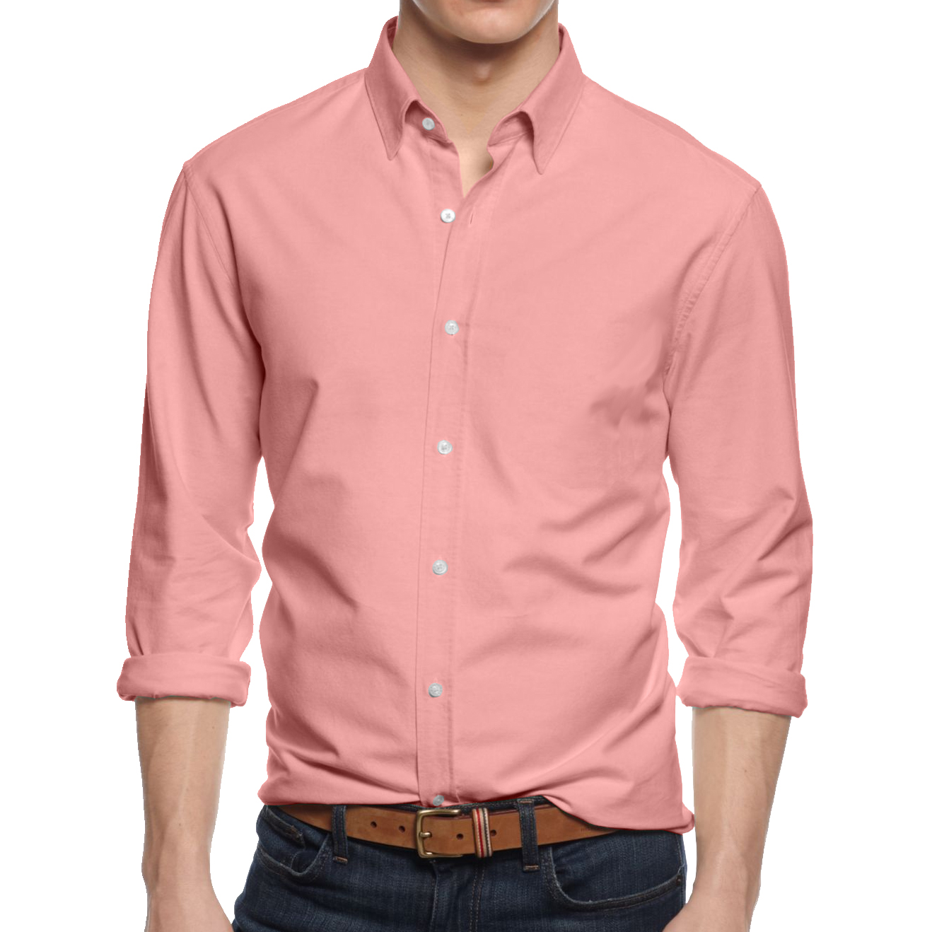 Mens Long Sleeve Button Down Cotton Slim Fit Pointed Collar Dress