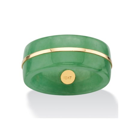 Jade Floral Band Ring - Genuine Green Jade Striped Ring Band with 10k Yellow Gold Accent