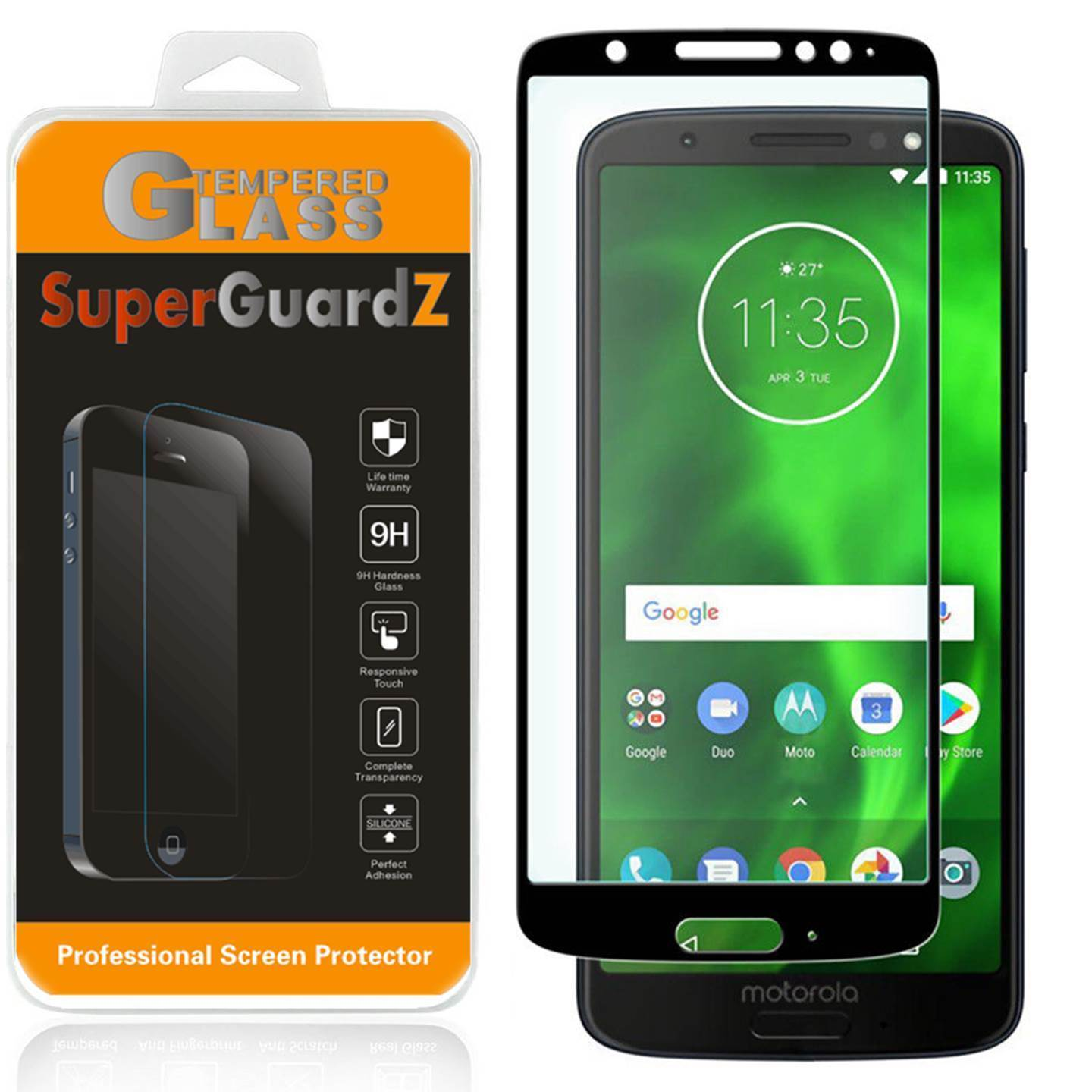 For Motorola Moto G6 - SuperGuardZ Full Cover Tempered Glass Screen Protector, Edge-To-Edge, 9H, Anti-Scratch, Anti-Bubble, Anti-Fingerprint