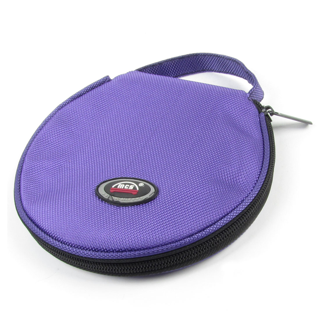 Purple Black Nylon Hand Carrying Hold 20 CD Discs Zipper Holder Bag