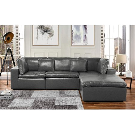 Large Leather Sectional Sofa, L Shape Couch with Wide Chaise (Grey)