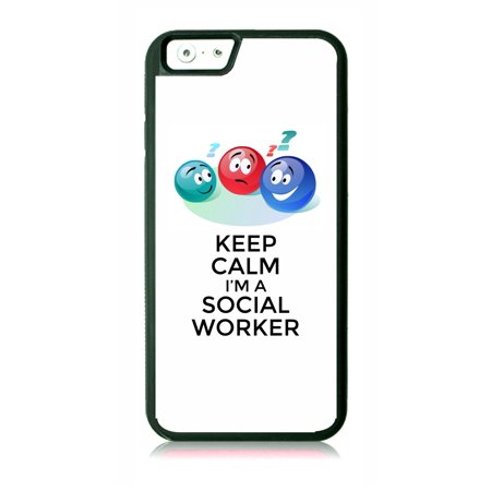 Keep Calm I'm a Social Worker - Appreciation Black Rubber Case for the Apple iPhone 7 / iPhone 8 - iPhone 7 Accessories - iPhone 8