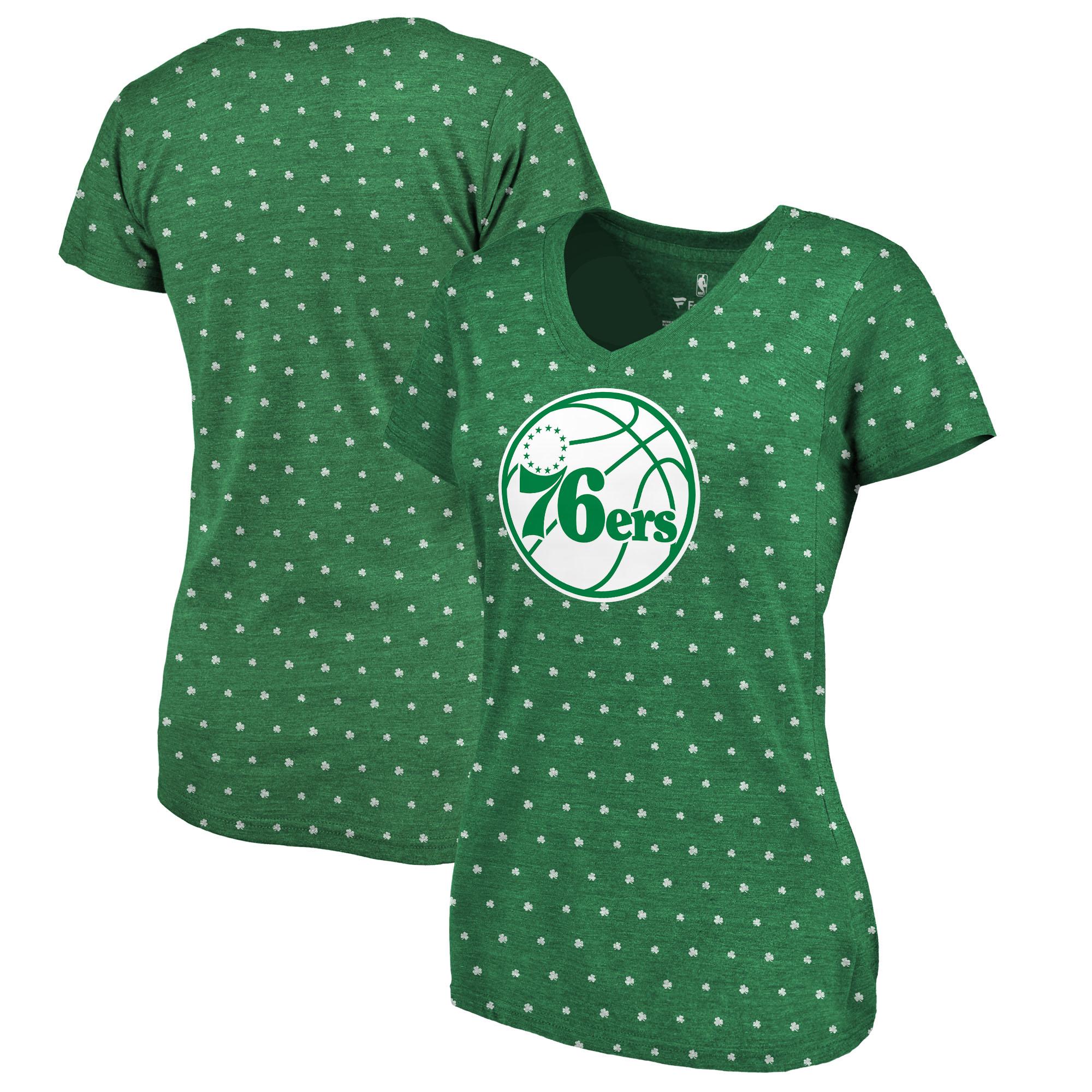 Philadelphia 76ers Fanatics Branded Women's All Irish All Over Print V-Neck T-Shirt - Kelly Green