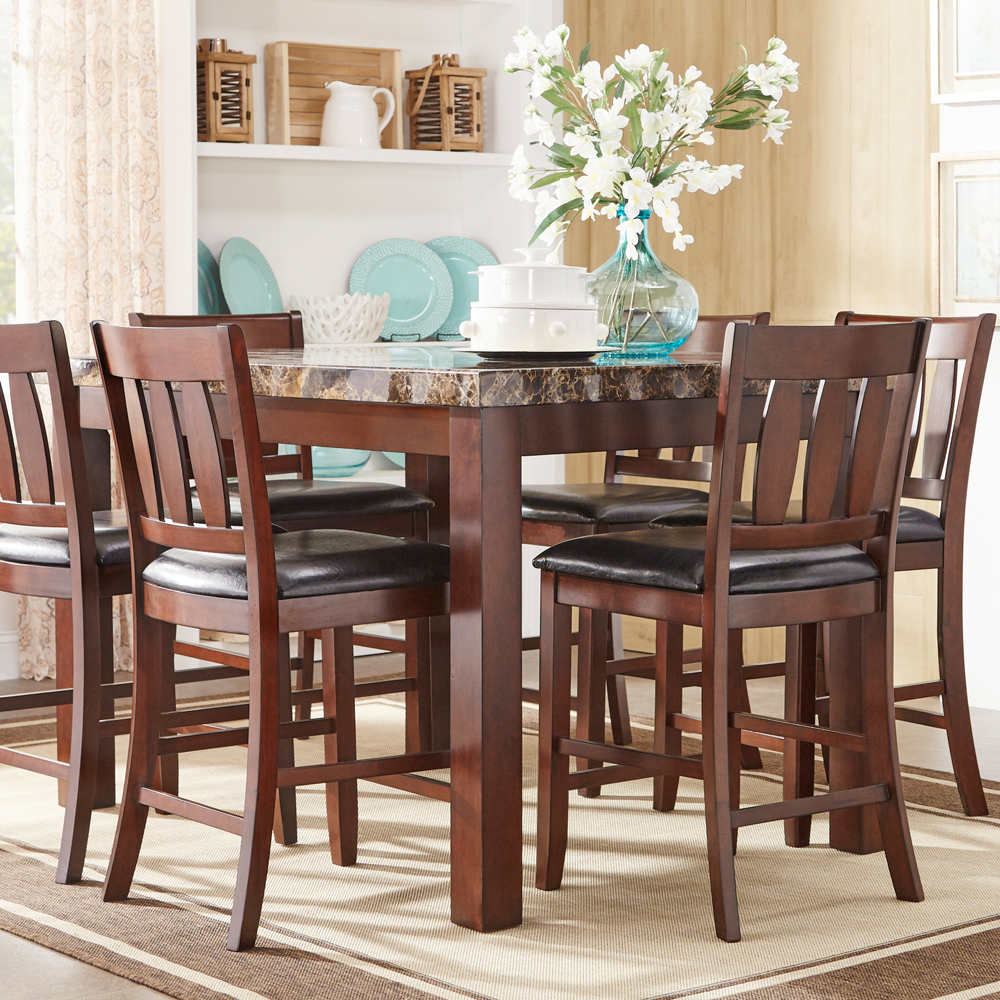 Weston Home 7 Piece Faux Marble Counter Height Dining Set