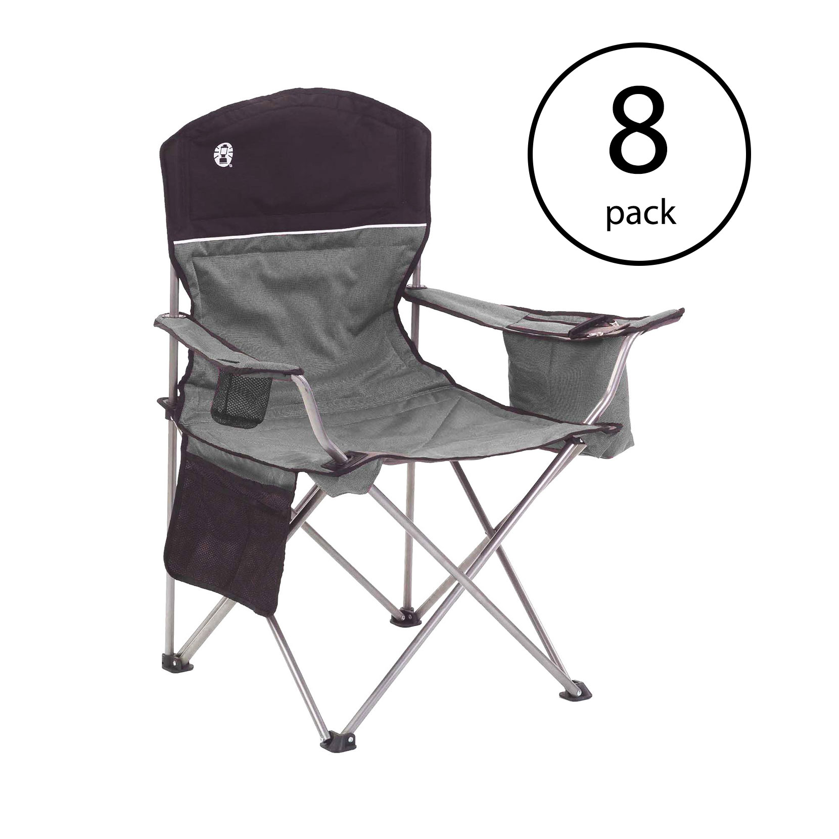 Coleman Oversized Quad Chair with Cooler and Cup Holder, Black/Gray (8 Pack)