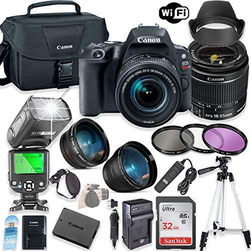 Canon EOS Rebel SL2 DSLR Camera Bundle with Canon EF-S 18-55mm STM Lens + 32GB Sandisk Memory + Canon Case + TTL Flash + Accessory Bundle