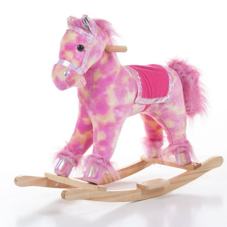 Pink Plush Pony Rocking Horse Ride On Toy by Happy Trails (Pink Rocking Horse)