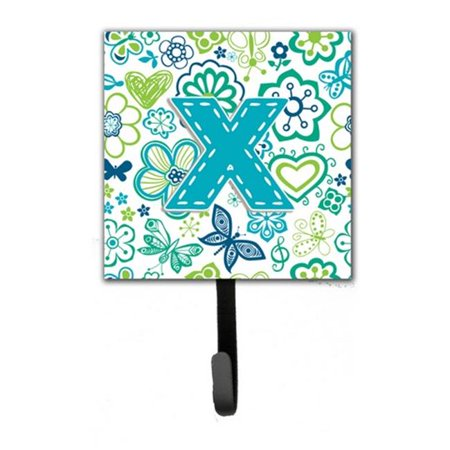 Letter X Flowers and Butterflies Teal Blue Leash or Key Holder CJ2006