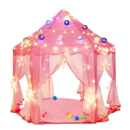 Kids Play Tent, Pink Hexagon Princess Castle Playhouse for Girls Children Play Tent With Star Lights Indoor and Outdoor - Princess Castles For Girls