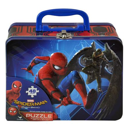 Spiderman Homecoming Lunch Tin Box with 48pc puzzle - Tin Lunch Boxes