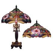 "CHLOE Lighting ZYGO Tiffany-style 2 Light Dragonfly Table Lamp 19"" Shade"