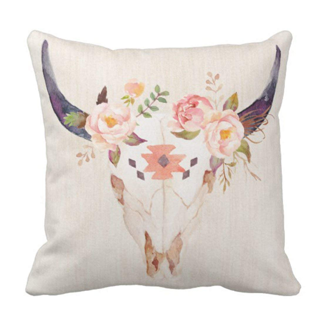 WOPOP Floral Boho Bull Head Skull Flowers Watercolor Rose Pillowcase Cover 16x16 inch