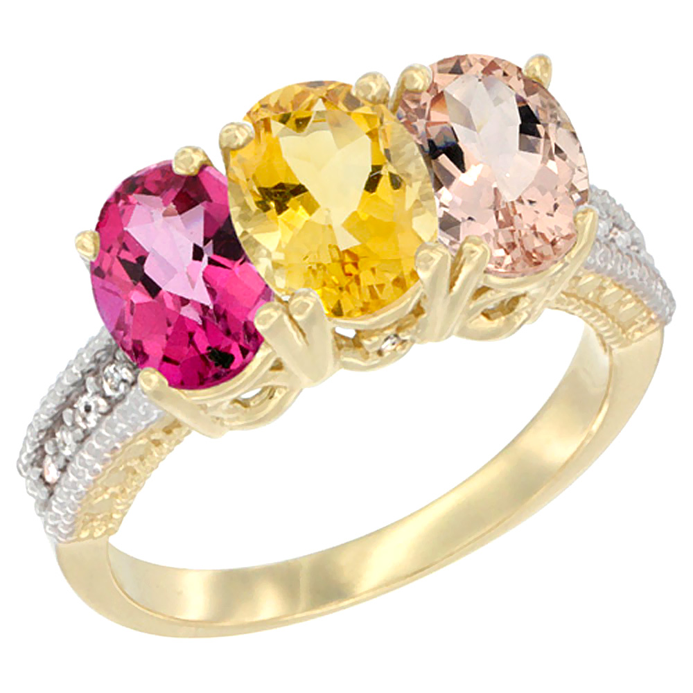 10K Yellow Gold Diamond Natural Pink Topaz, Citrine & Morganite Ring 3-Stone Oval 7x5 mm, sizes 5 10 by WorldJewels