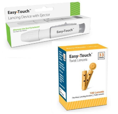 Easy Touch Lancing Device with Ejector, 5 Depth Settings + 100 33G Lancets