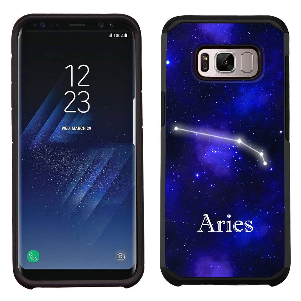 Hybrid Case for Samsung Galaxy S8 PLUS / S8+, OneToughShield ® Dual Layer Shock Absorbing Phone Case (Black/Black) - Zodiac / Aries