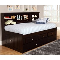 American Furniture Classics Model 2922-K3, Solid Pine Twin Daybed with Three Drawers and Twin Trundle in Espresso