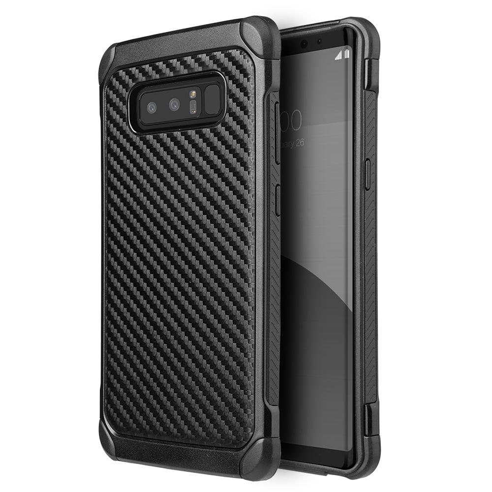 Samsung Galaxy Case,Premium Hybrid Carbon Fibre Designed Back Case Hard Bumper Defender Cover (Shockproof, Raised Bezel, Anti Scratch,Lightweighted) for Samsung Galaxy Note 8 SM -N950U-Black/ Black